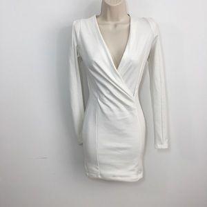 Lulu's faux wrap body con mini dress Xsmall white